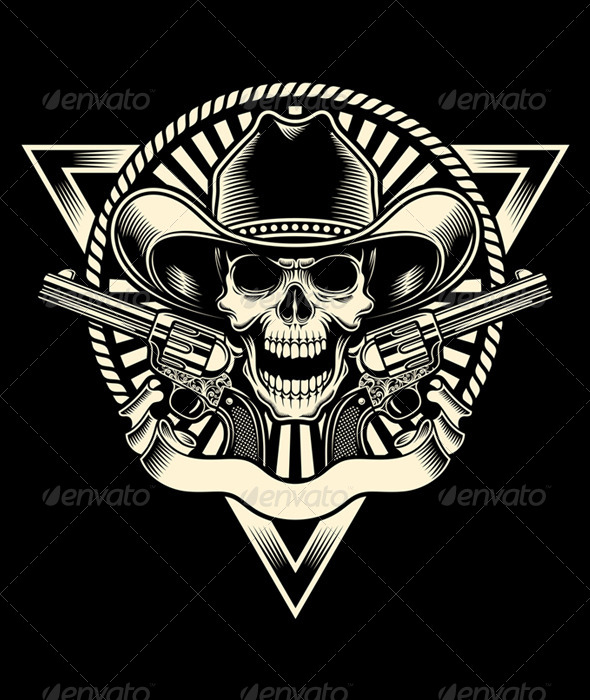 Cowboy Skull With Revolver - Man-made Objects Objects