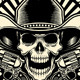 Cowboy Skull With Revolver - GraphicRiver Item for Sale