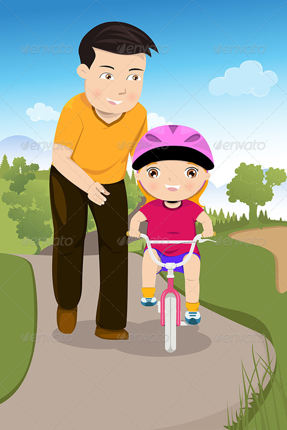Father Teaching his Daughter Riding a Bike - Sports/Activity Conceptual
