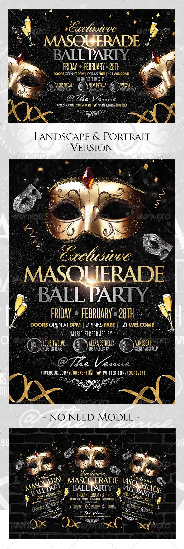Masquerade Ball Flyer Landscape / Portrait Version - Clubs & Parties Events