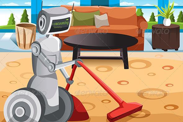 Robot Vacuuming Carpet - Technology Conceptual