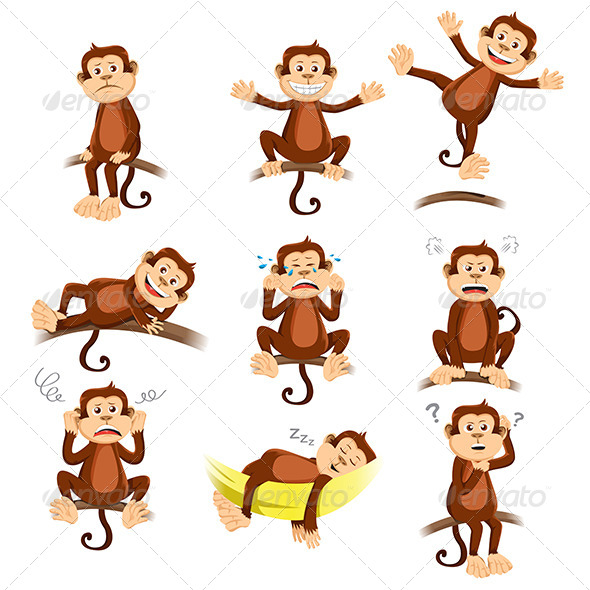 Monkey with Expressions - Animals Characters