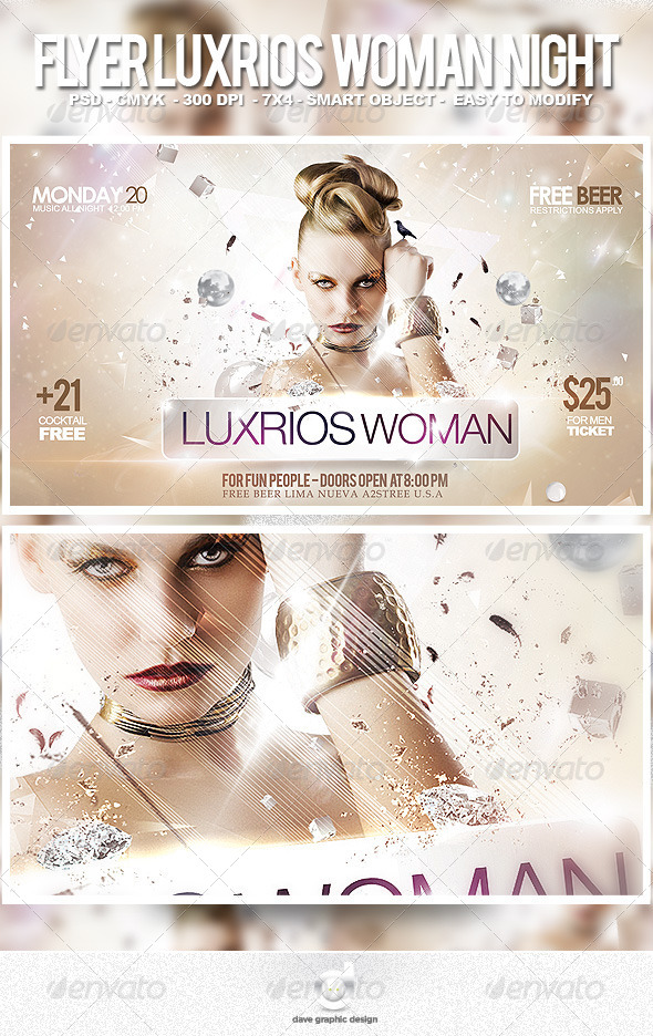 Flyer Luxurious Woman Night - Clubs & Parties Events