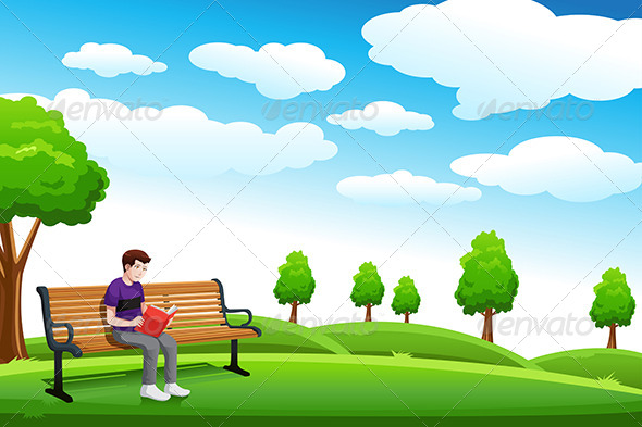 Man Reading a Book on the Bench - People Characters