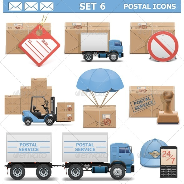 Vector Postal Icons Set 6 - Industries Business