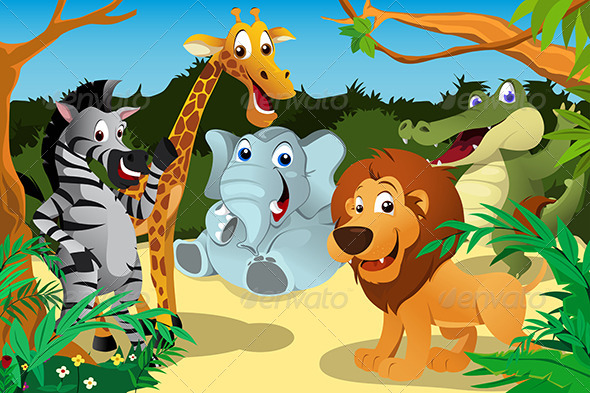 African Animals in the Jungle - Animals Characters