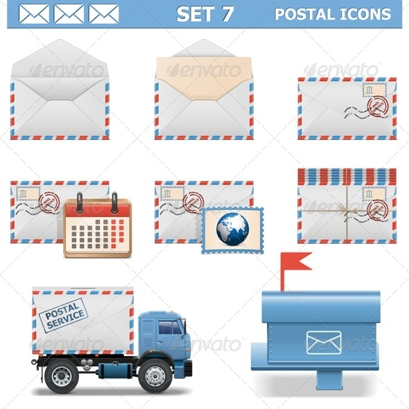 Vector Postal Icons Set 7 - Industries Business