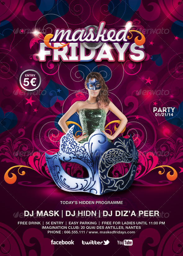 Masked Fridays Party - Events Flyers