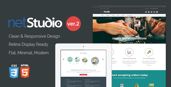 NetStudio – Bootstrap 3 Multi-Purpose Template