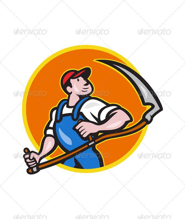 Farmer Worker Holding Scythe Circle Cartoon - People Characters