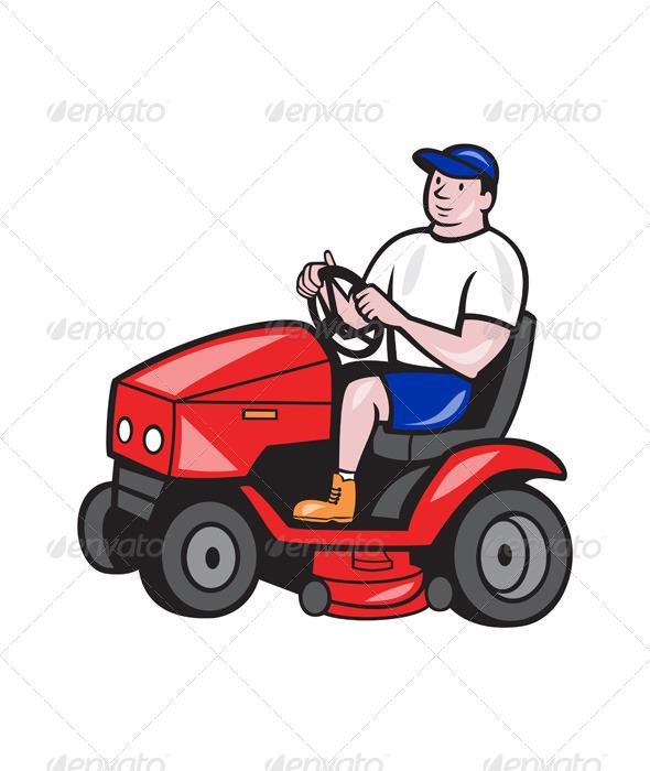 Gardener Mowing Rideon Lawn Mower Cartoon - People Characters