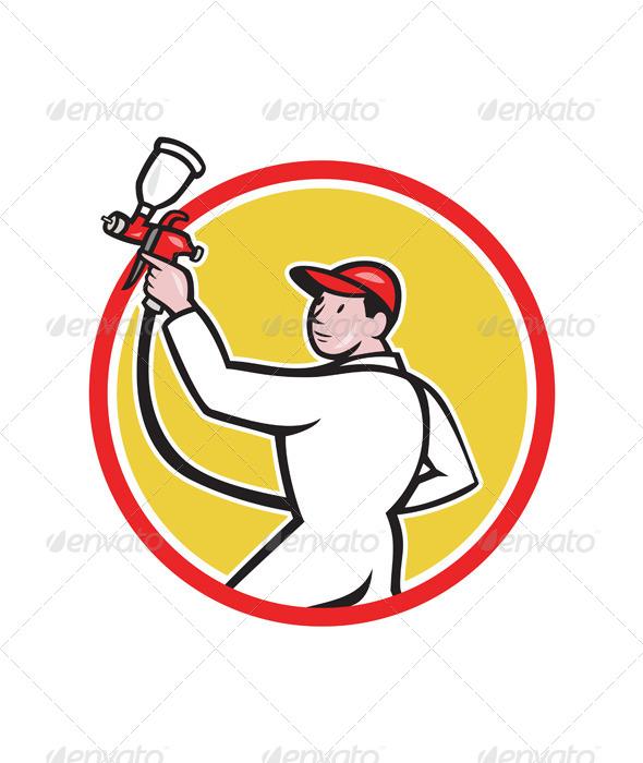 Painter Spray Paint Gun Side Circle Cartoon - People Characters