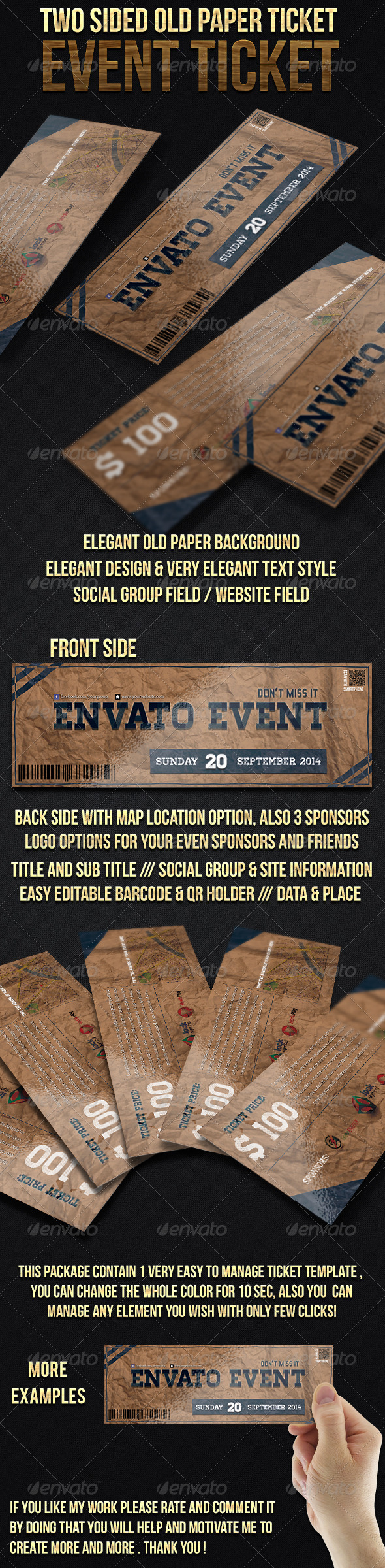 Two Sided Old Paper Event Ticket - Cards & Invites Print Templates