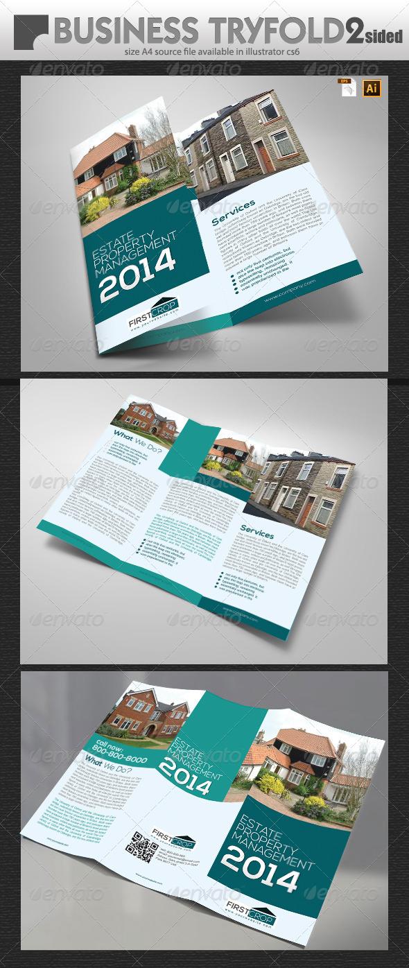 Uk Property Management  TriFold - Brochures Print Templates