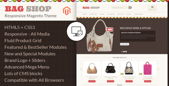 Bag Shop - Magento Responsive Template - Shopping Magento