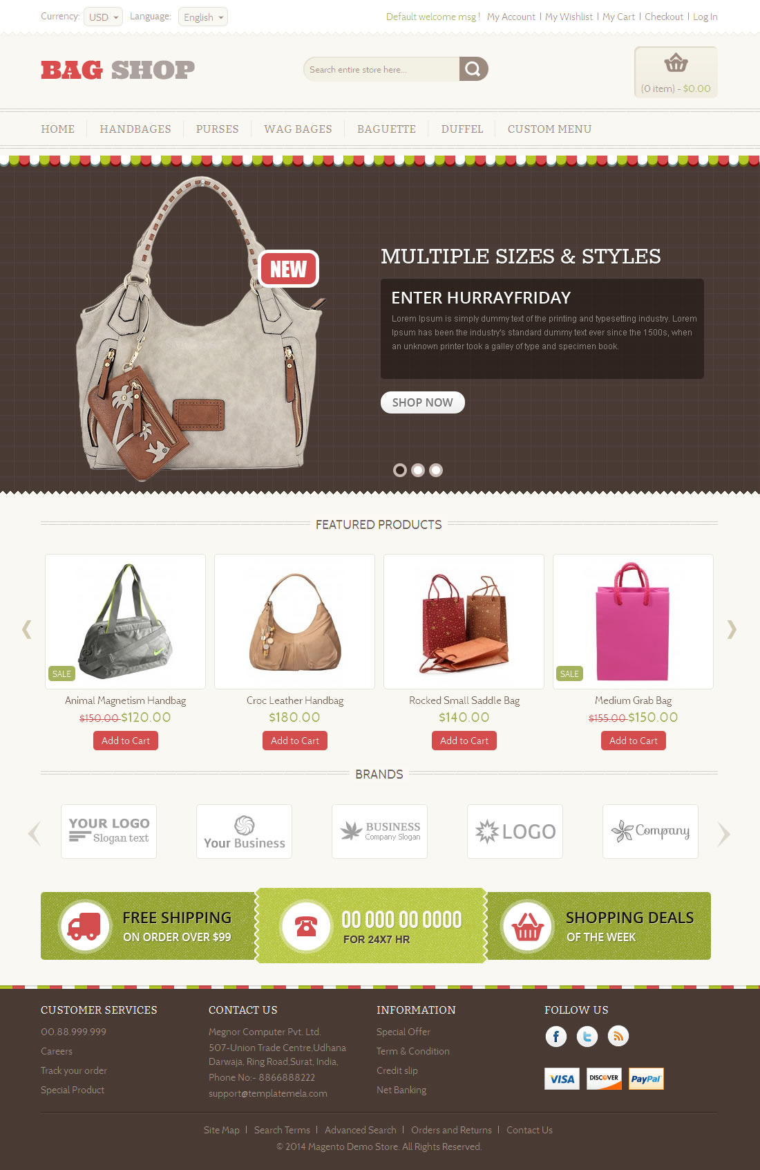 Bag shop magento responsive template by templatemela for Magento homepage template