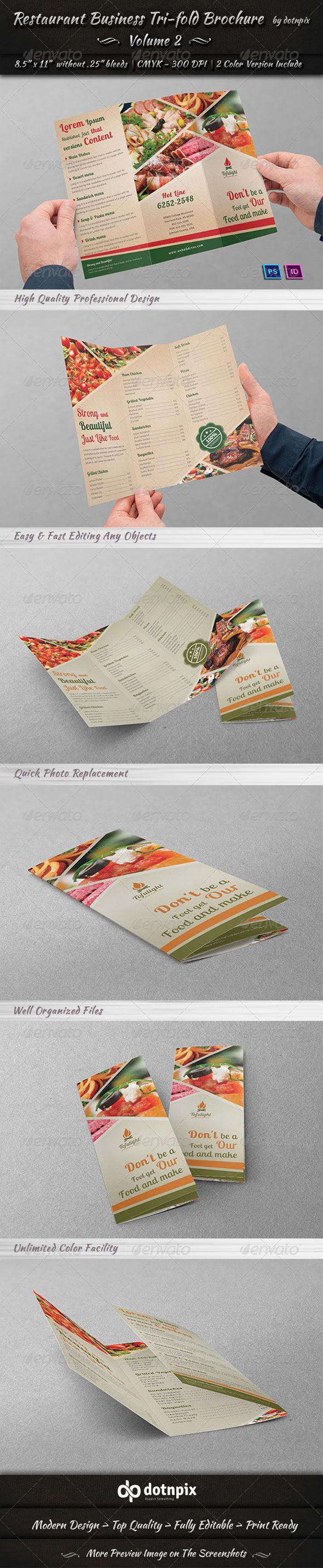 Restaurant Business Tri-Fold Brochure   Volume 2 - Brochures Print Templates