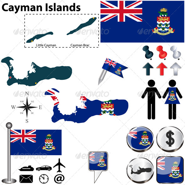 Map of Cayman Islands - Travel Conceptual