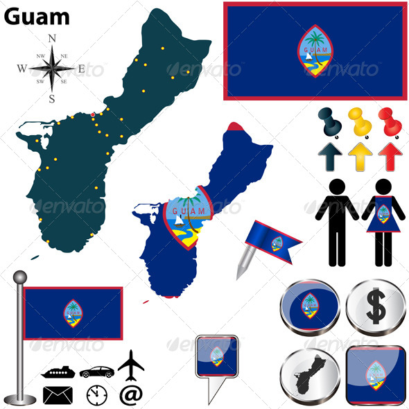 Map of Guam - Travel Conceptual