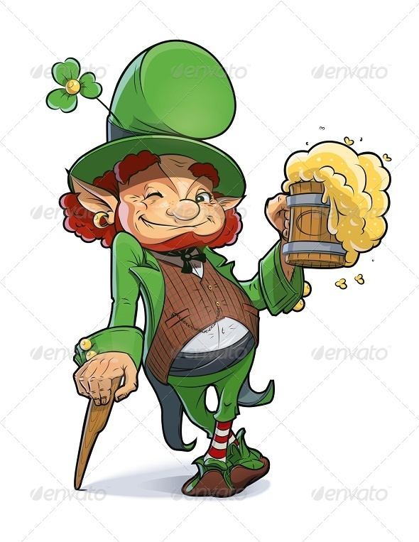Dwarf with Beer. Illustration For Saint Patricks - People Characters