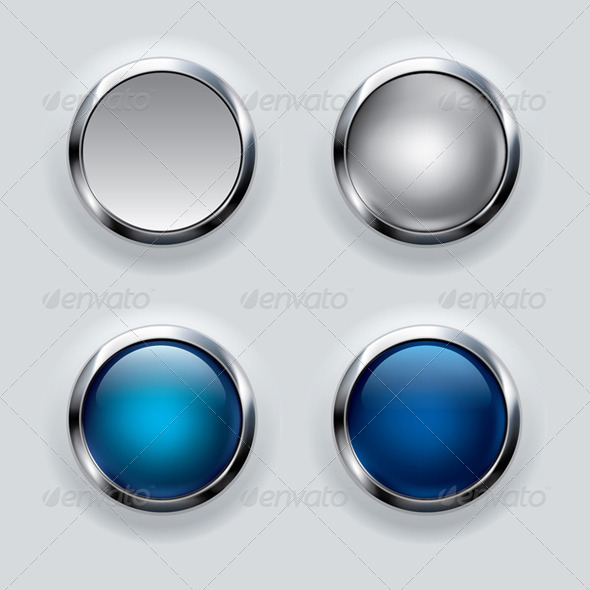 Silver Button Set on Gray Background  - Vectors
