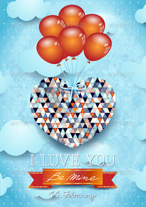 Heart and Balloons, Valentine Card - Valentines Seasons/Holidays