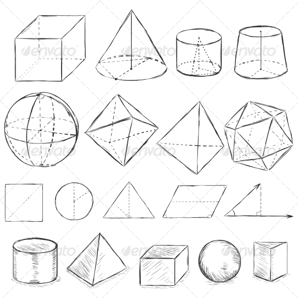 Sketch Geometric Shapes - Animals Characters