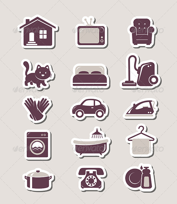 Household Paper Cut Icons - Objects Vectors