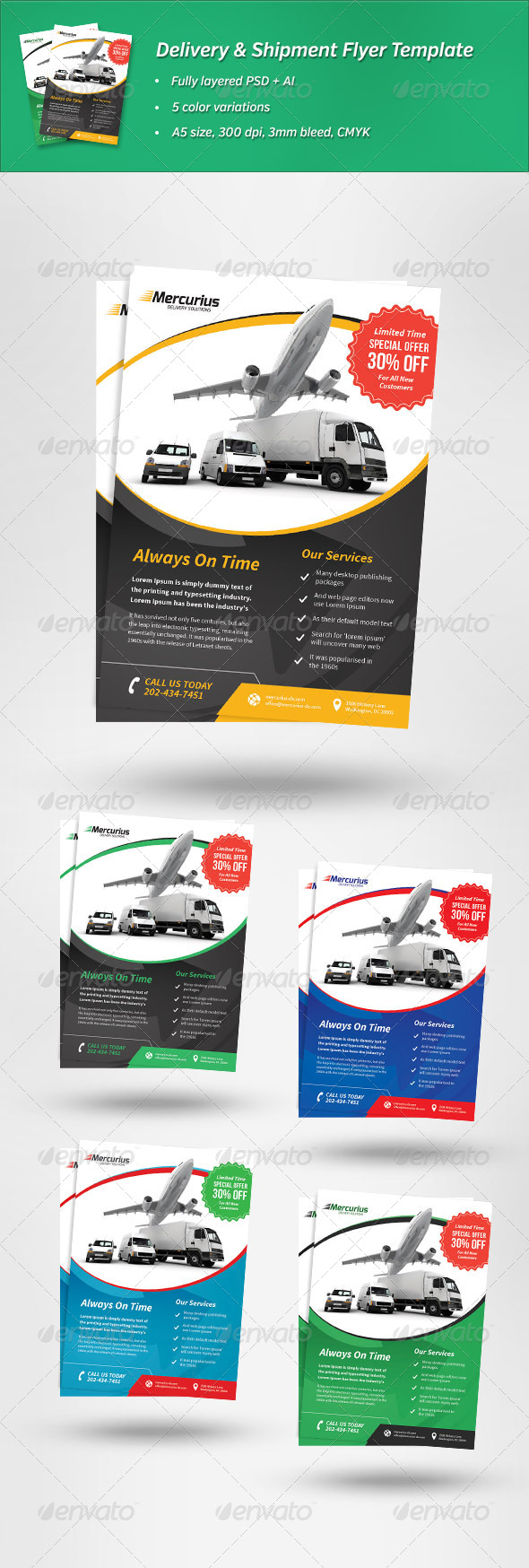 Delivery & Shipment Flyer Template - Corporate Flyers
