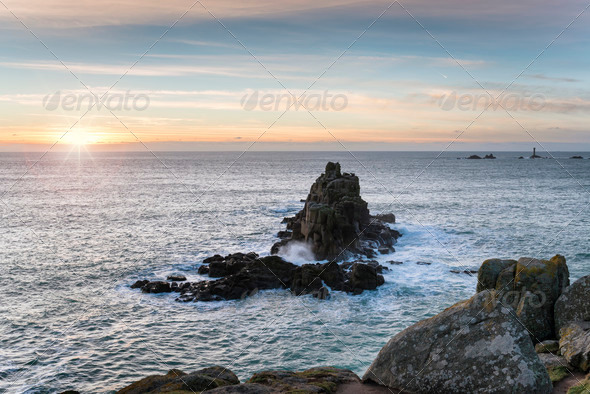 Lands End in Cornwall - Stock Photo - Images