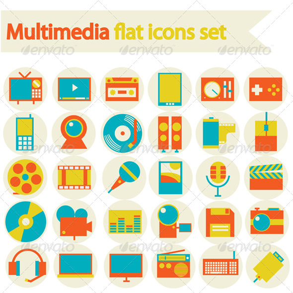 Multimedia Flat Icons Set - Media Icons