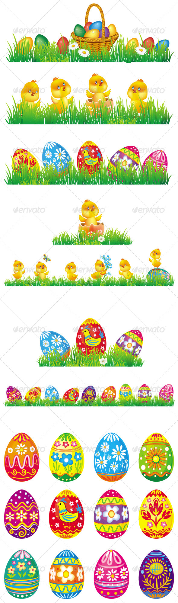 Easter Eggs and Chicken in Grass - Miscellaneous Seasons/Holidays