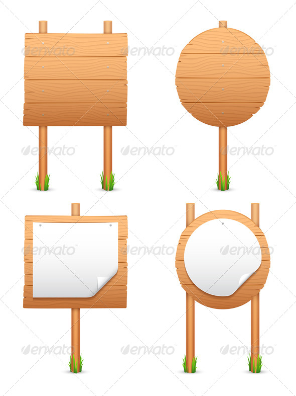 Wooden Signs - Objects Vectors