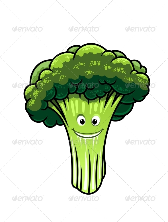 Fresh Broccoli with a Happy Face - Miscellaneous Characters
