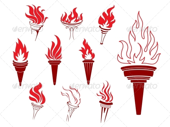 Collection of Burning Torches - Miscellaneous Vectors