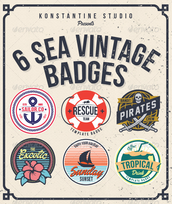 6 Sea Vintage Badges - Web Elements Vectors
