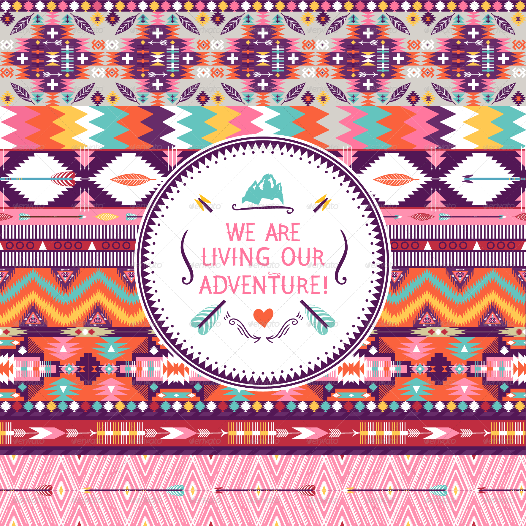 Hipster Seamless Colorful Tribal Pattern by tomuato ...