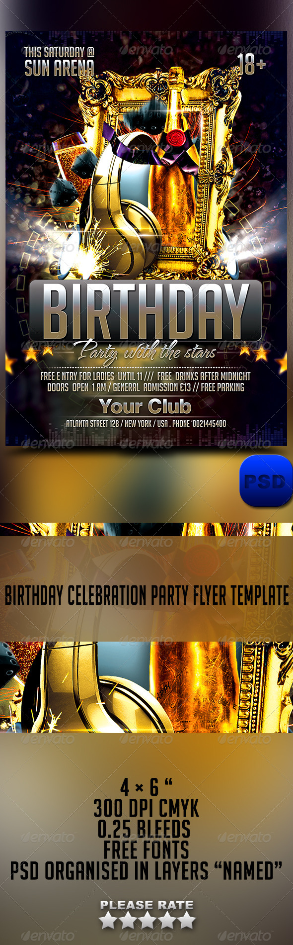 Birthday Celebration Party Flyer Template - Events Flyers