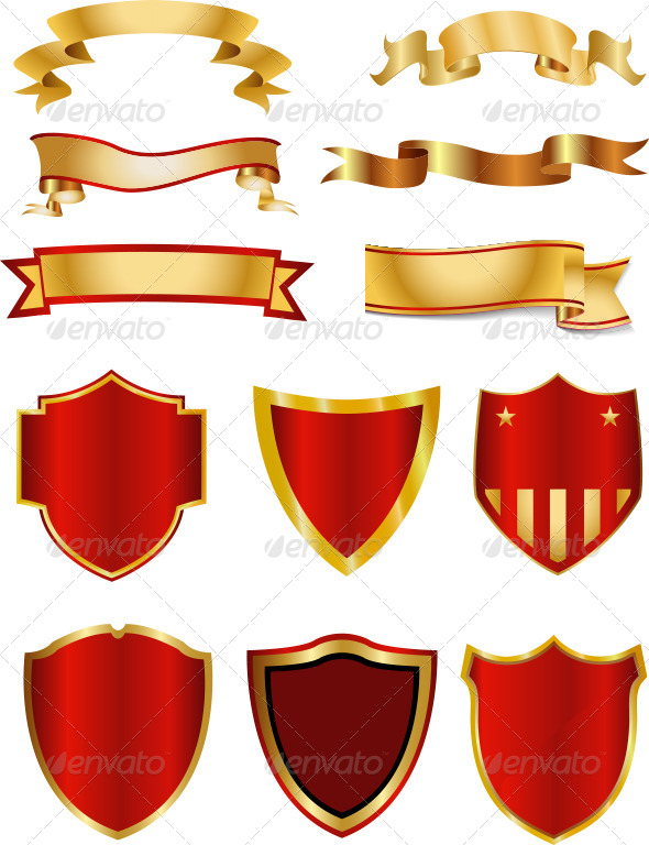 Golden Ribbon,Banner And Shield Collection - Decorative Symbols Decorative