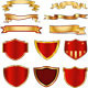 Golden Ribbon,Banner And Shield Collection
