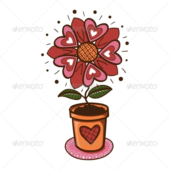 Flower with Hearts in a Pot. - Valentines Seasons/Holidays