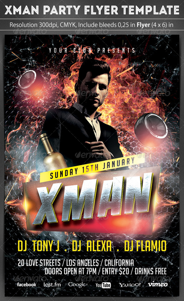 Xman Flyer Template - Clubs & Parties Events