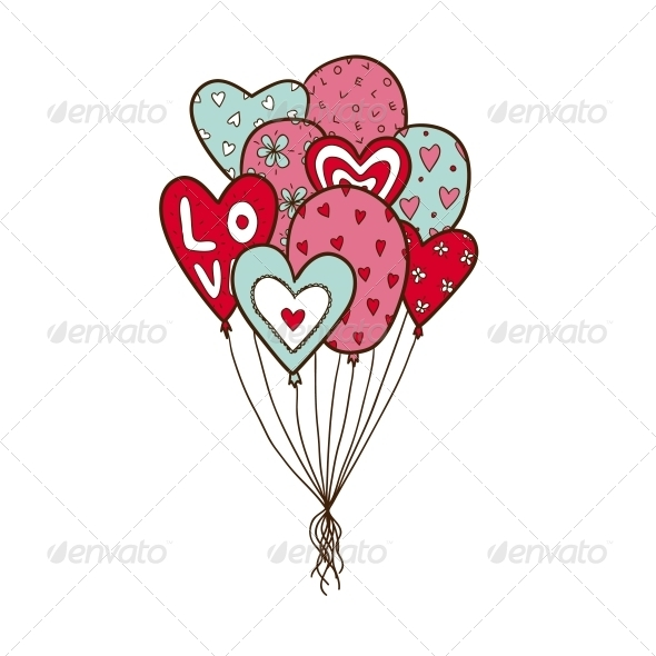 Heart Balloons - Valentines Seasons/Holidays