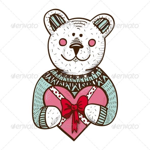 Teddy Bear with Heart Present - Valentines Seasons/Holidays