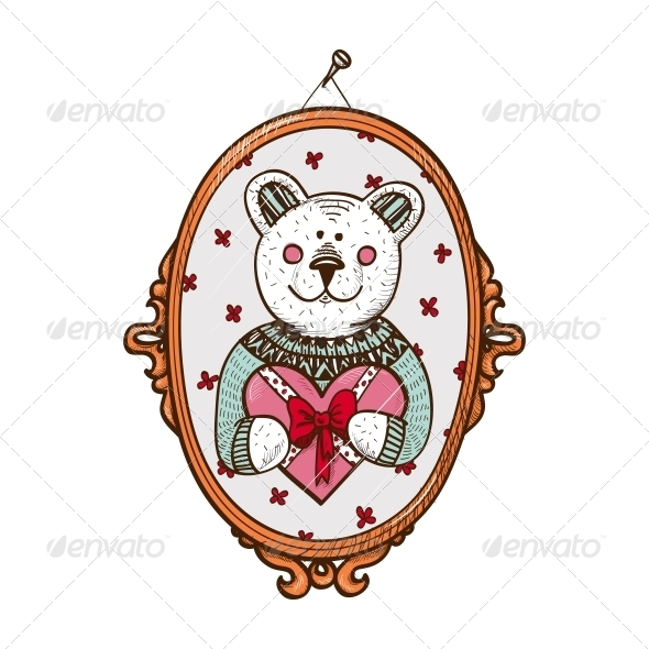 Bear with Present - Valentines Seasons/Holidays