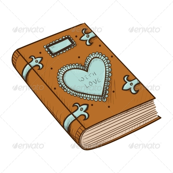 Book with Decorative Heart - Valentines Seasons/Holidays