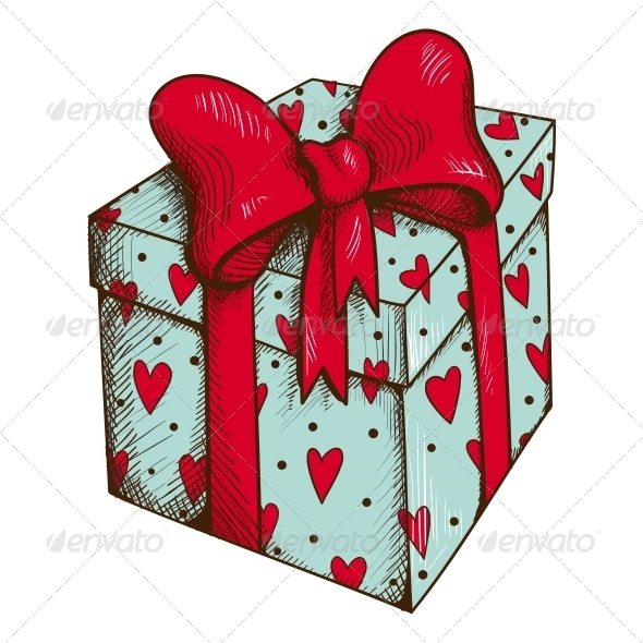 Present Box with Hearts and Bow - Valentines Seasons/Holidays