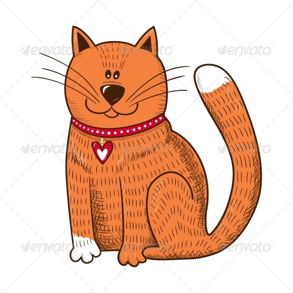 Cat with Heart on Collar - Valentines Seasons/Holidays