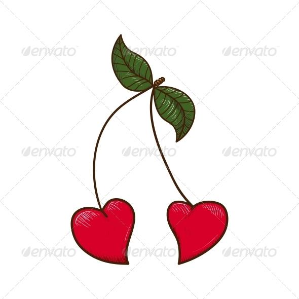 Heart Shaped Cherries. - Valentines Seasons/Holidays