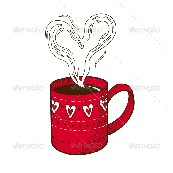 Coffee Cup with Heart Shaped Steam. - Valentines Seasons/Holidays